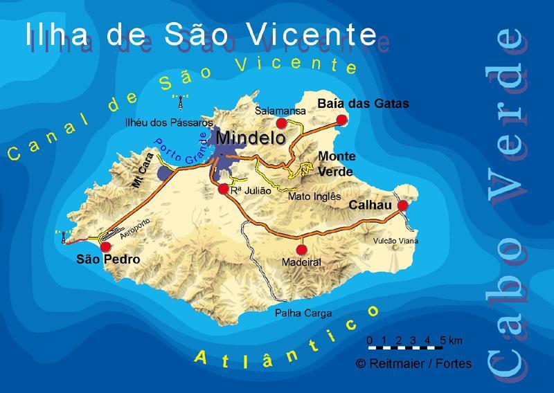 Sao Vicente island map