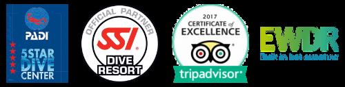 Dive Tribe certifications - PADI, SSI, TripAdvisor, EWDR.